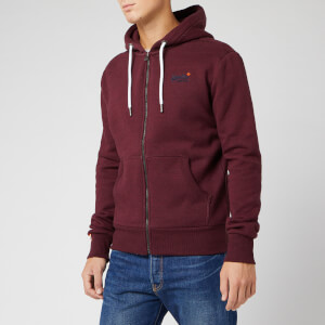 Superdry Men's Orange Label Classic Zip Hoody - Buck Burgundy Marl