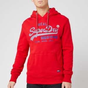 Superdry Men's Vintage Logo Racer Hoody - Rouge Red