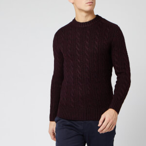 Superdry Men's Jacob Crew Neck Jumper - Bright Buck Burgundy Twist