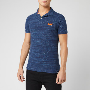 Superdry Men's Orange Label Jersey Short Sleeve Polo Shirt - Navy Fleck