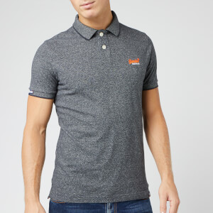 Superdry Men's Orange Label Jersey Short Sleeve Polo Shirt - Volcanic Black Feeder