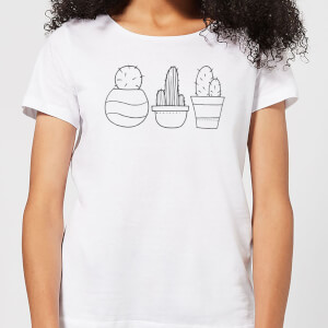 Hand Drawn Cacti Women's T-Shirt - White