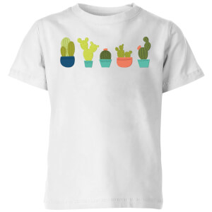 Cacti In A Row Kids' T-Shirt - White
