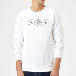 Hand Drawn Flowers Sweatshirt - White