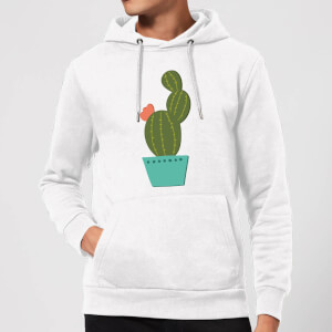 Single Potted Cactus Hoodie - White