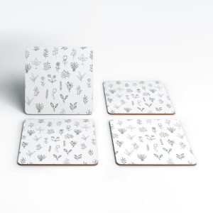 Hand Drawn Flower Pattern Coaster Set