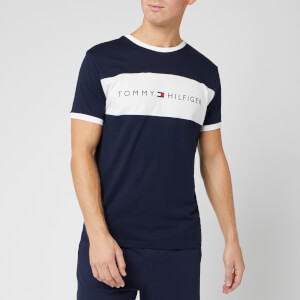 Tommy Hilfiger Men's Flag Logo Stripe T-Shirt - Navy Blazer
