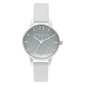 Olivia Burton Women's Wishing Wave Vegan Glitter Dial Watch - Chalk Blue/Silver