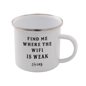 Find Me Where The Wifi Is Weak Enamel Mug – White