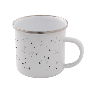 Star Sign Enamel Mug – White