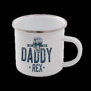 Daddy Rex Enamel Mug – White