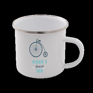Rider's Favourite Brew Enamel Mug – White