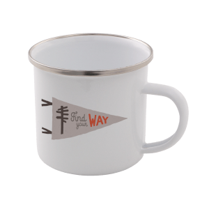 Find Your Way Enamel Mug – White