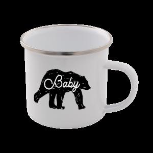 Baby Bear Enamel Mug – White