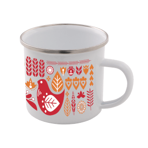 Colourful Scandi Enamel Mug – White