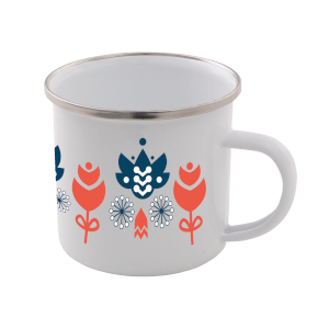 Colourful Flower Scandi Print Enamel Mug – White