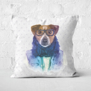 Hipster Dog Square Cushion