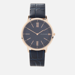 Tommy Hilfiger Men's Cooper Leather Strap Watch - Rou Navy