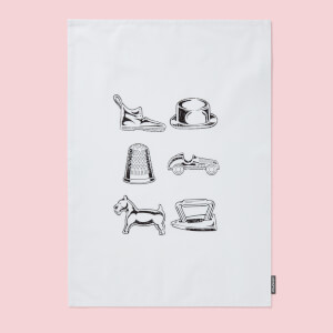 Monopoly Pieces Cotton Tea Towel
