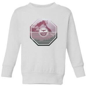 Octagon Mountain Photo Graphic Kids' Sweatshirt - White