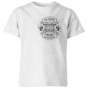 Vintage Old School Backpacker Pocket Print Kids' T-Shirt - White