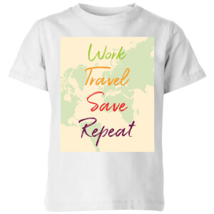 Work Travel Save Repeat Map Background Kids' T-Shirt - White