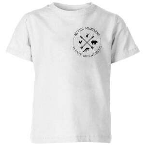 Never Mundane Always Adventurous Pocket Print Kids' T-Shirt - White