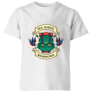 Vintage Old School Backpacker Kids' T-Shirt - White