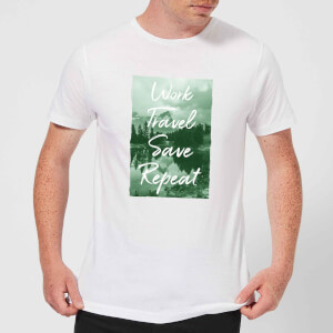 Work Travel Save Repeat Forest Photo Men's T-Shirt - White