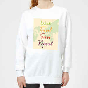 Work Travel Save Repeat Map Background Women's Sweatshirt - White