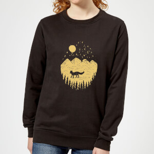Moonlight Fox Adventure Women's Sweatshirt - Black