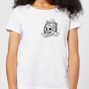 Explorer Skull Pocket Print Women's T-Shirt - White