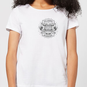 Vintage Old School Backpacker Pocket Print Women's T-Shirt - White
