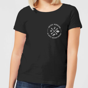 Never Mundane Pocket Print Women's T-Shirt - Black