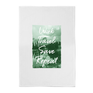 Work Travel Save Repeat Forest Photo Cotton Tea Towel