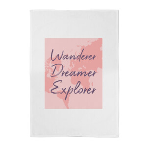 Wander Dreamer Explorer With Map Background Cotton Tea Towel