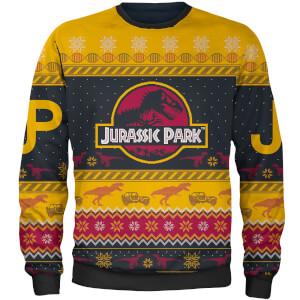 Pull de Noël Brodé Jurassic Park Zavvi Exclusif - Jaune