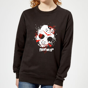 Friday the 13th Mask Splatter Women's Sweatshirt - Black