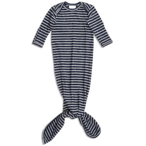 aden + anais Snuggle Knit Knotted Gown - Navy Stripe (0-3 Months)