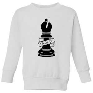 Bishop Chess Piece Faithful Kids' Sweatshirt - White