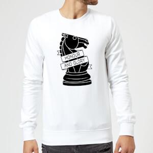 Knight Chess Piece Honour And Glory Sweatshirt - White
