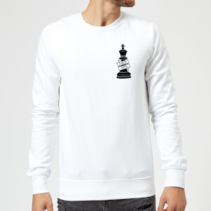 King Chess Piece Check Mate Pocket Print Sweatshirt - White
