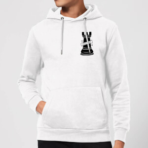 Rook Chess Piece Hold Fast Pocket Print Hoodie - White