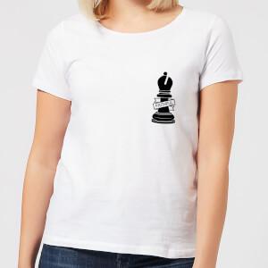 Bishop Chess Piece Faithful Pocket Print Women's T-Shirt - White