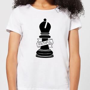 Bishop Chess Piece Faithful Women's T-Shirt - White