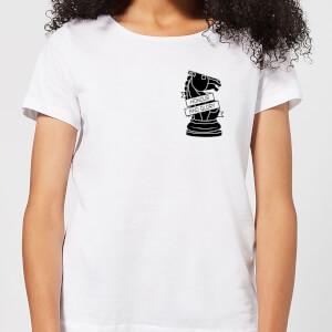 Knight Chess Piece Honour And Glory Pocket Print Women's T-Shirt - White