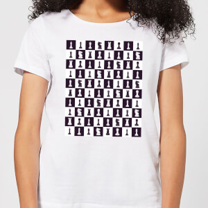 Chess Board Repeat Pattern Monochrome Women's T-Shirt - White