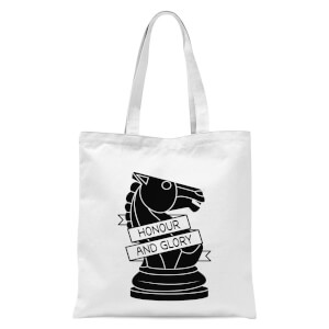Knight Chess Piece Honour And Glory Tote Bag - White