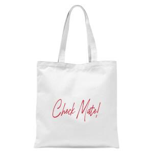 Check Mate! Script Text Tote Bag - White