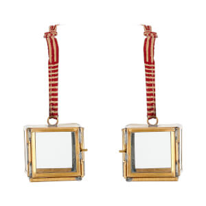 Nkuku Tiny Kiko Box Decorations - Antique Brass (Set of 2)